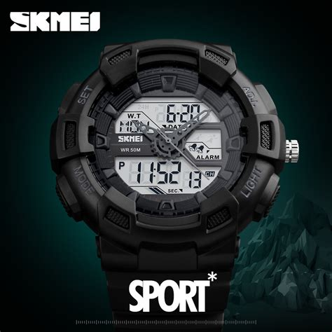 skmei jam tangan digital analog pria 1189 black