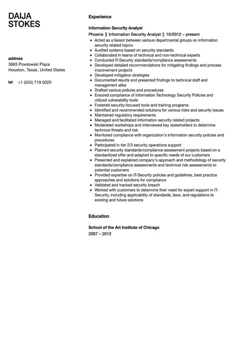 Security Analyst Resume by Information Security Analyst Resume Sle Velvet