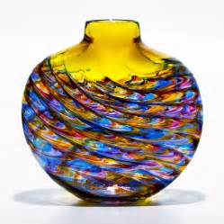 Bowl Vases Yellow Glass Vase Aztec By Michael Trimpol Boha Glass
