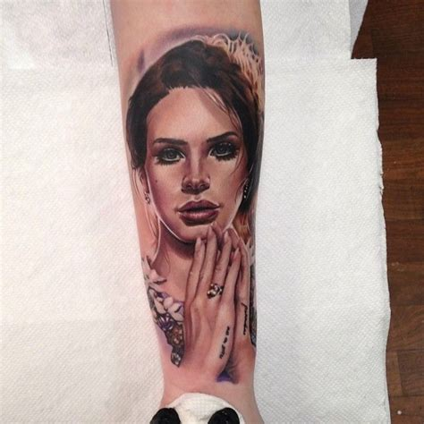 beautiful lana del ray colour portrait tattoo by kris