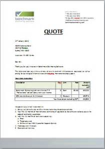 consultant quotation template thank you for requesting a quote benchmark estimating