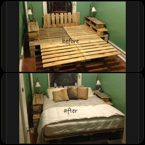 wooden pallet bed frame diy wood pallet bed frame couples projects pinterest