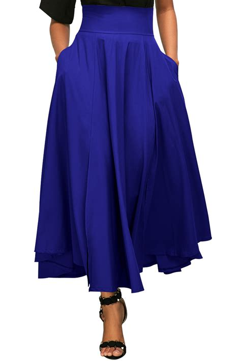 us 8 5 blue retro high waist pleated belted maxi skirt
