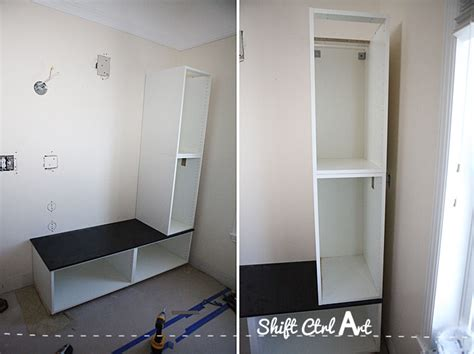 ikea cabinet bench master bath progress shortened built in ikea seating