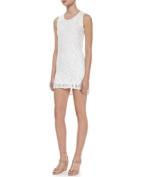 Sleveless Cotton Dress In White Or Grey waverly grey gwen sleeveless lace dress white