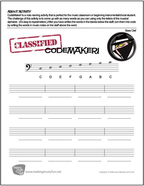 Note Name Worksheet by Codemaker Free Bass Clef Note Name Worksheet Http
