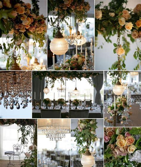 chandelier wedding centerpieces hanging wedding reception decor flowers