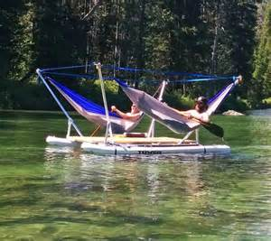 Floating Hammock this hammock boat lets you relax in up to 4 hammocks while floating on a lake or river