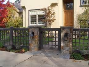 fresh front yard wood fence with stone columns decorative
