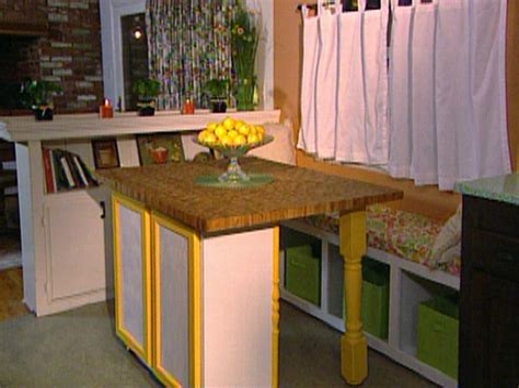 movable kitchen islands butcher block table movable build a movable butcher block kitchen table island hgtv