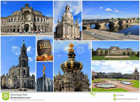 European Style House Plans Landmarks Collage Of Dresden Saxony In Germany Stock