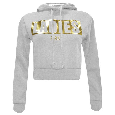 Print Cropped Pullover new womens slogan print cropped hoody pullover