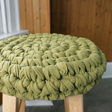 fabric yarn pattern stool cover crocheted from old t shirts free pattern you
