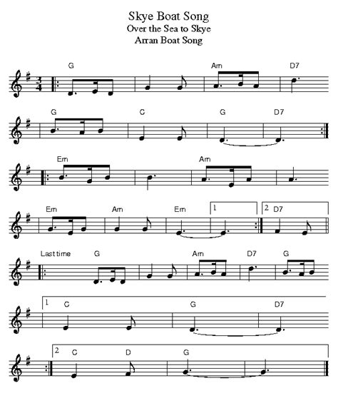 skye boat song in g new page 1 www celticguitarmusic