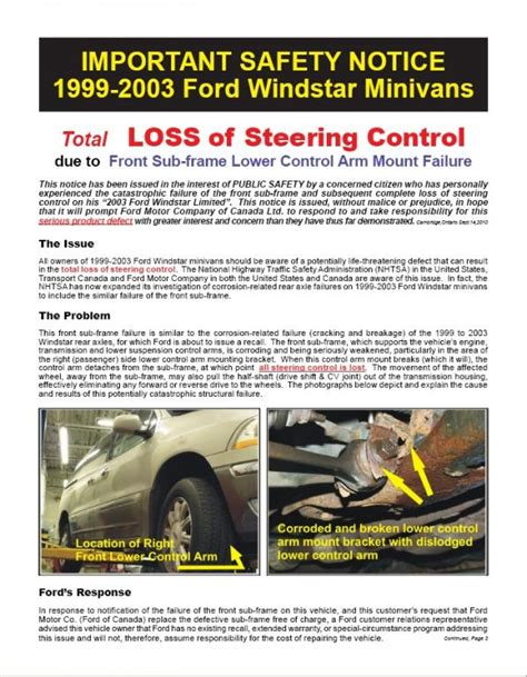 auto body repair training 2003 ford windstar user handbook 2003 ford windstar control arm rusted popped off frame 4 complaints
