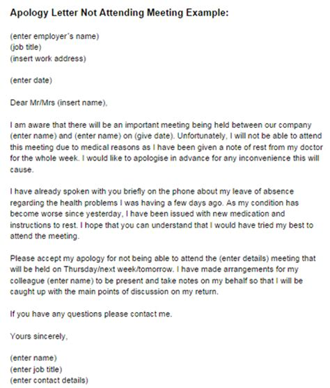 Professional Apology Letter For Not Attending An Event Sle Letter Unable To Attend Meeting Sle Business Letter