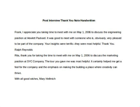 thank you letter after handwritten or typed 8 post thank you notes free sle exle format free premium