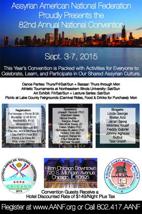 Chicago Conventions Calendar Usa Chicago Assyrian American National Federation 82nd