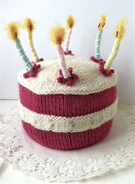 Birthday Cake With Lit Candles Knitting Pattern Folksy