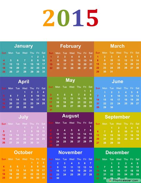 free printable calendar 2015 colorful year ausdruckbarer نتيجة العام الميلادي 2015 مع نتيجة التقويم الهجري 1436
