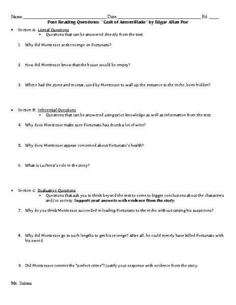 The Cask Of Amontillado Worksheet Answers by Cask Of Amontillado Mini Analysis Frudgereport793 Web