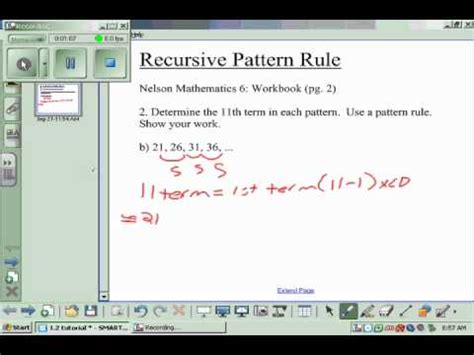 recursive pattern in math recursive pattern rule wmv youtube
