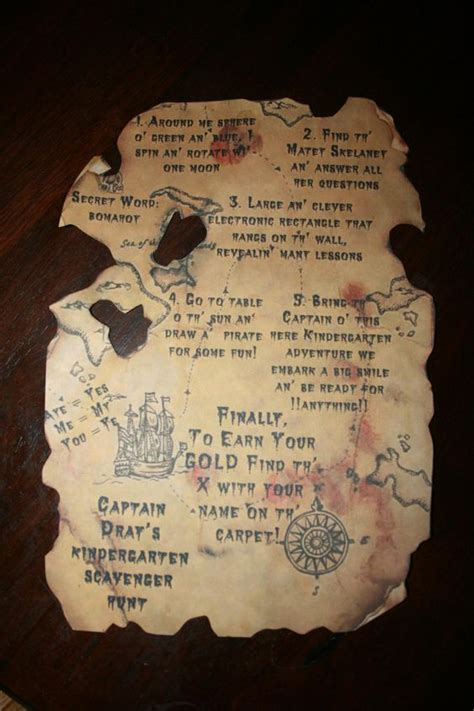 treasure map invitation template birthday invitations scavenger hunts and pirate
