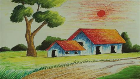 how to draw a house easy children drawing river and house and sunset pastel painting how to draw a simple