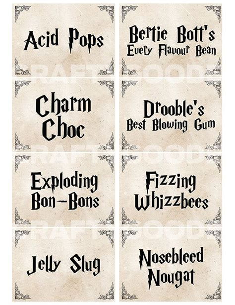 harry potter inspired hogwarts printable name tags resultado de imagen para harry potter candy printables