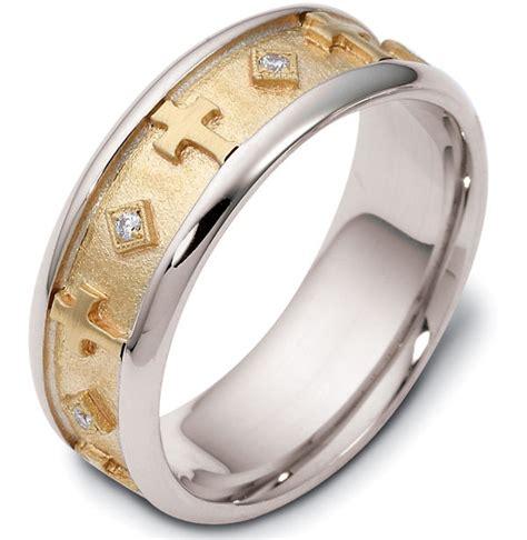 120961 14k gold cross wedding ring 0 08ct tw