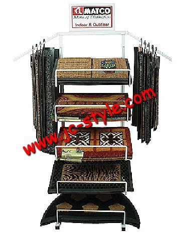 custom floor standing mats display rack with arms metal