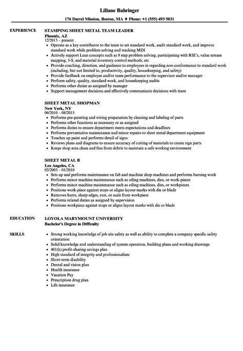Resume Sheet by Sheet Metal Resume Sles Velvet