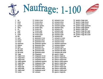 french numbers 1 100 activity naufrage by world language