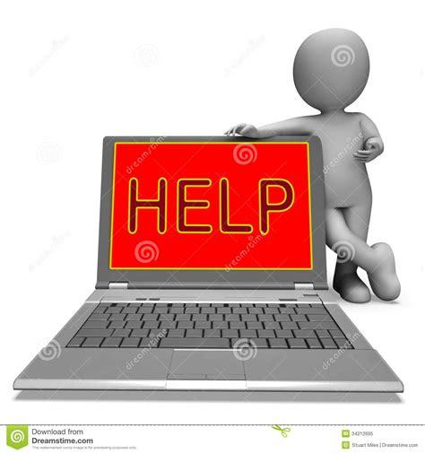 laptop help desk help on laptop shows helping customer service helpdesk or