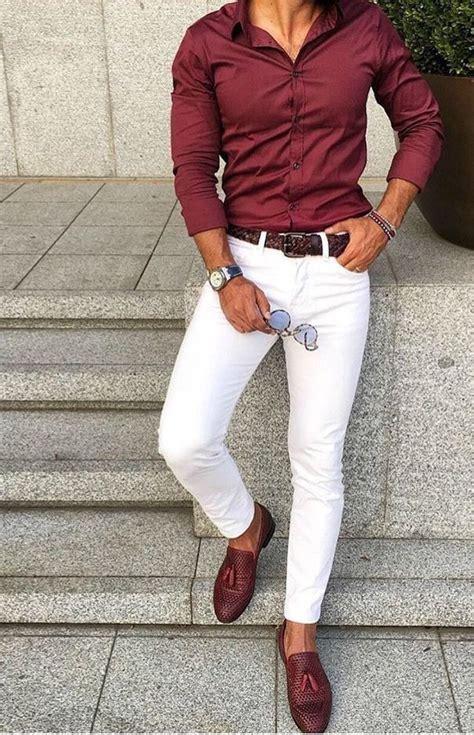red shirt white pants combination suit menswear mens