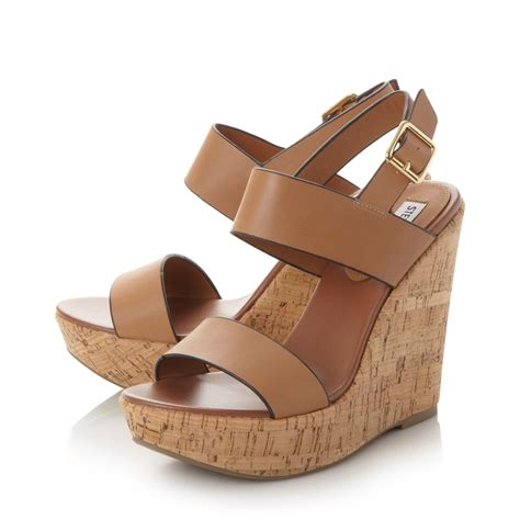 steve madden esme cork wedge sandals in brown lyst