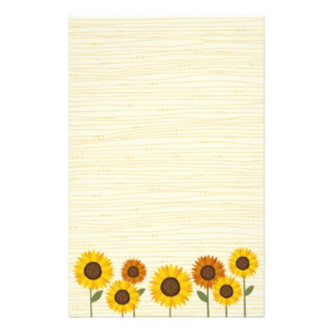 Sunflower Stationery Custom Sunflower Stationary Zazzle Sunflower Stationery Template