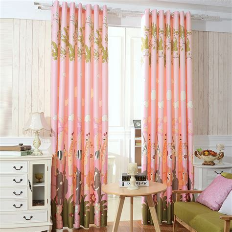 affordable pink blackout giraffe and elephant nursery curtains