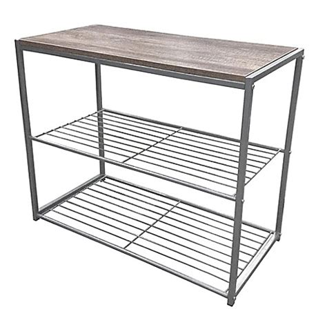 wire shoe rack 3 tier wire shoe rack with printed wood top in silver