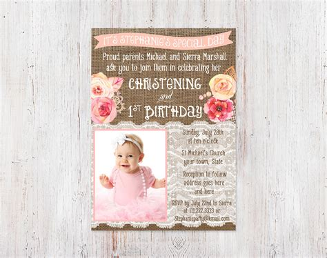 Christening And 1st Birthday Invitations Bautizo 1er Cumple 1st Birthday And Christening Invitation Templates
