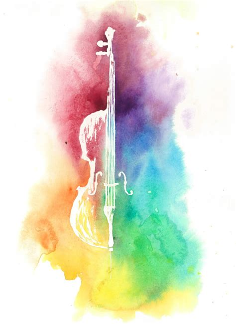music wallpaper pinterest watercolor colorful cellorainbow painting instrument print
