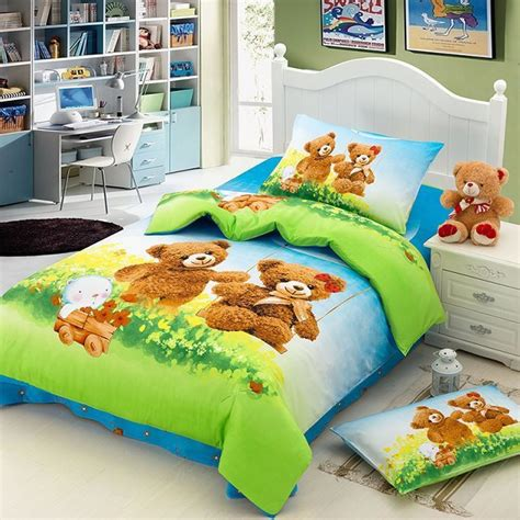bedding for kids teddy bear cartoon cute bedding set for kids children twin size bedspread duvet cover