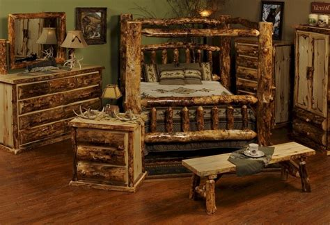 Rustic Pine Bedroom Furniture Brown Stained Mahogany Wood