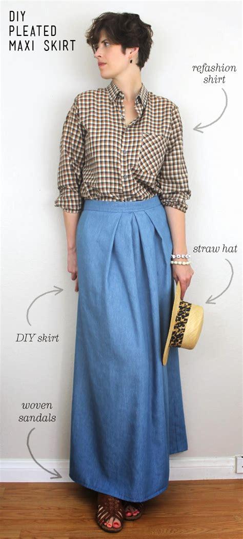 diy pleated chambray maxi skirt sew diy