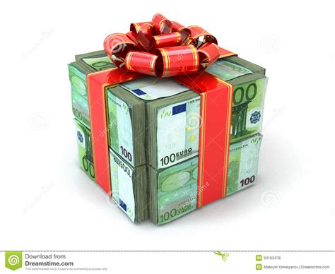 money gift pack of euros and red ribbon stock