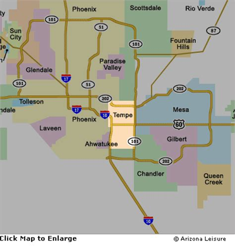 us map tempe arizona tempe area map and surrounding cities