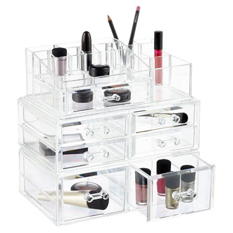 stacking drawer organizers crystal cosmetics stacking organizer drawers the