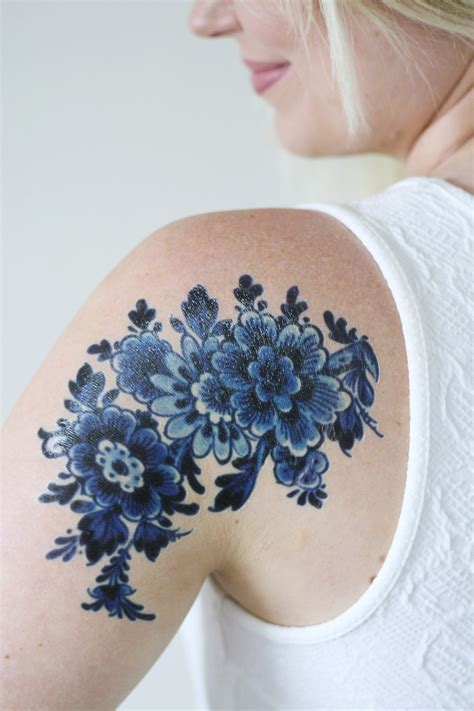 tattoo blue large delfts blue temporary tattoos by tattoorary