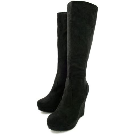 buy liana wedge heel platform knee high boots black