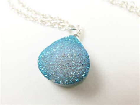 light blue pendant necklace druzy jewelry druzy stone necklace light blue